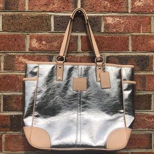Nice Coach Metallic Tote Bag Large